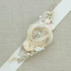 Rustic Bridal sash wedding belt Narrow waist sash Tan by LeFlowers, $115.00