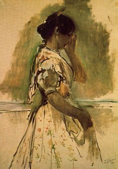 The Athenaeum - Peasant Girl (Ignacio Pinazo Camarlench - ) Spanish Painters, Spanish Artists, Impressionism Art, Impressionist, Visual Texture, Female Images, Color Mixing, Fine Art, Illustration