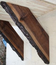 "LARGE 19"" Black Walnut hardwood Live Edge Vanity Bathroom or Kitchen Countertop Corbel Support Brackets SET OF 2"