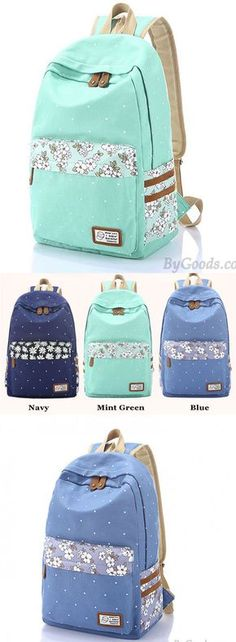 Which color do you like ? Fresh Polka Dot Mint Green Canvas School Backpacks #backpack #dot #green #canvas #school #college #rucksack