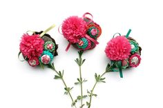 Fabric flower brooch, circle cluster pin, crochet with fabric buttons - green, pink, turquoise - OOAK