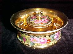 Old Mark Sevres Porcelain Inkwell and Pen Holder with Flower Bouquet w Gilding | eBay