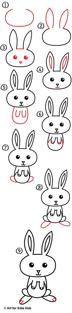 To Draw A Cartoon Easter Bunny - Art For Kids Hub - Learn how to draw a cartoon Eater bunny!Learn how to draw a cartoon Eater bunny! Bunny Drawing, Bunny Art, Drawing For Kids, Drawing Ideas, Drawing Birds, Bunny Painting, Drawing Art, Cartoon Drawings, Animal Drawings