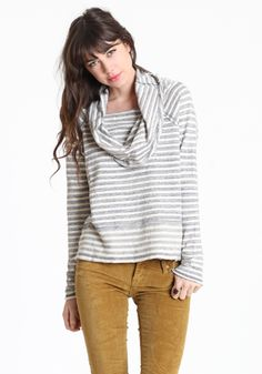 Stripe Cowl Neck Top by Free People