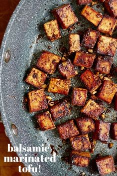 Marinated Tofu ever! This Balsamic Marinated Tofu Recipe is quick and easy and transforms tofu into little bites of deliciousness! This Vegan Snack is Perfect in salads, wraps, or Buddha bowls. Healthy and gluten free and easily oil free! Vegan Snacks, Vegan Dinners, Healthy Snacks, Marinated Tofu, Marinade For Tofu, Vegetarian Recipes, Healthy Recipes, Best Tofu Recipes, Dining