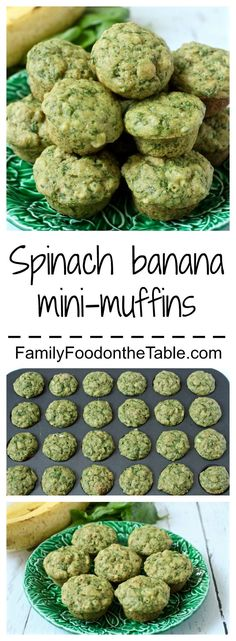Spinach-banana mini muffins are 100% whole grain and a baby, toddler and kid favorite. They make a perfect school lunch and the extras freeze beautifully | FamilyFoodontheTable.com