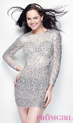 Short Sequin Long Sleeve at PromGirl.com