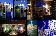 de Gournay and Smythsons collaboration: London & New York Panels of the de Gournay 'Whistler Peacocks' design were used in the window displays of Smythson's New Bond Street (London), Sloane Street (London), Westbourne Grove (London), and 5th Avenue (New York) stores. The design was painted onto heavily varnished lapis blue and period green painted silk grounds.