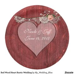 Red Wood Heart Rustic Wedding