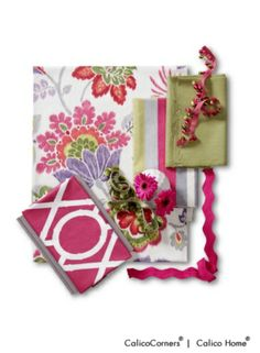 Calico Corners Bamboo Fabric Collection: Kazoo in Ruby. Ismir in Ruby. Country Plains in Leaf. Lattice Bamboo in Raspberry.
