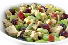 This is a delicious, skinny version of the popular Waldorf salad. Adding chicken and lots of fruit makes it a lovely, colorful and satisfying, main course meal. The fruit taste especially good in t…