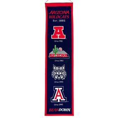 "Arizona Wildcats Wool Heritage Banner - 8""x32"""