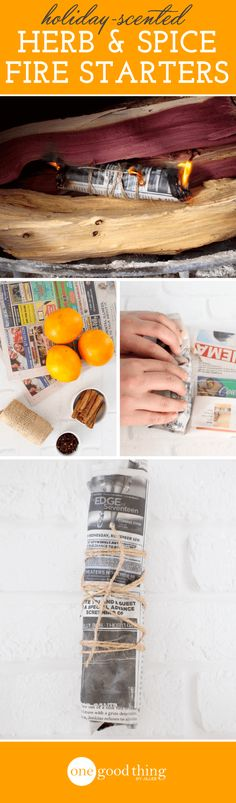 Capture the scents of the season with these homemade fire starters! All you need is a few herbs and spices, some newspaper, and a bit of twine.