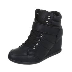 Sneakers High Damen-Schuhe High-Top Keilabsatz/ Wedge Keilabsatz Schnürsenkel Ital-Design Freizeitschuhe Schwarz, Gr 36, S28-