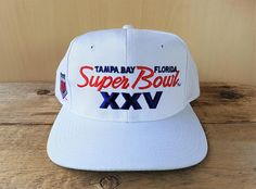 c31f8a8b68f Vintage Super Bowl XXV Sports Specialties Twill Snapback Hat Tampa Bay  Florida Official Licensed NFL 1990 91 Baseball Cap Embroidered Script