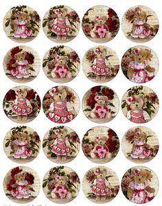 Details about Vintage inspired teddy bear heart flowers assorted sizes scrapbooking Bottle Top Crafts, Images Vintage, Vintage Easter, Teddy Bear Party, Etiquette Vintage, Bottle Cap Images, Bottle Caps, Free To Use Images, Graphics
