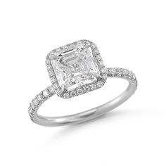 2ct. Asscher Cut Diamond Engagement Ring set in a platinum and diamond micro-pave Larisa Setting