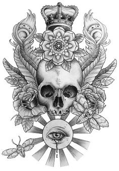Skull Tattoo Design with Royal Crown, Roses, Eye, Peacock Feathers ❥❥❥ https://tattoosk.com/skull-tattoo-design-with-royal-crown