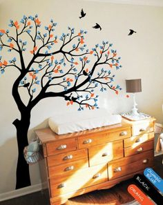 Spring tree wall decal birds wall decal nursery room nature children wall sticker mural cute tree with buds and leaves wall decals KR068