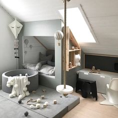 Is To Me brings you the essence of Scandinavian design with soft furniture, home accessories, gifts and more. We cure designs that become timeless classics! - Scandinavian Design Trends - Have Best Home Decor ! Interior Design Inspiration, Room Inspiration, Ideas Decorar Habitacion, Loft Room, Attic Rooms, Attic Bathroom, Attic Playroom, Attic Apartment, Playroom Ideas