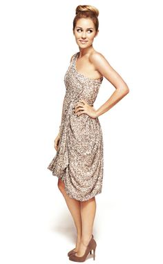 One shoulder glitter dress