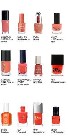 Coral/orange nail polishes