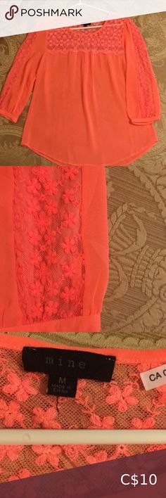 Bright peach Pink chiffon blouse Bright peach fluroescent blouse, stunning colour excellent shape. mine Tops Blouses Blue Lacy, Maroon Leggings, Long Tunic Tops, Bohemian Tops, Sheer Shirt, Yellow Blouse, Blouse Dress, Floral Tops, Free People