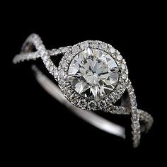 Diamond Pave Set Infinity Halo 14K White Gold Engagement Ring Mounting