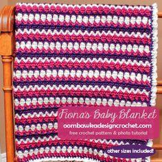 Free Baby Crochet Blanket Pattern - Fiona's Baby Blanket  @OombawkaDesign