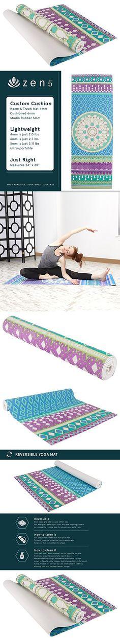 Zen 5 Non-Slip Memory Foam Yoga Mats, 1/4 - 1/6 Inch, 4mm - Mandala Print Lime Green