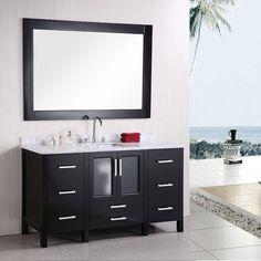 Dcor Design Pratt Single Modern Bathroom Vanity Set With Mirror Base Finish Espresso
