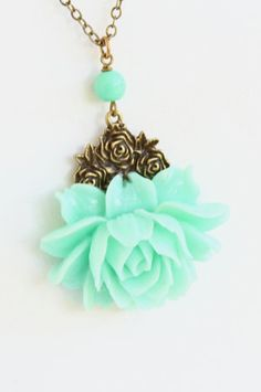Mint Green Flower Necklace Rose
