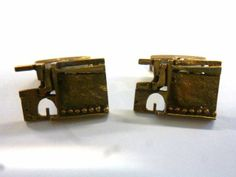 Jorma Laine for Turun Hopea, vintage cufflinks in gilded bronze, 1970's. #Finland