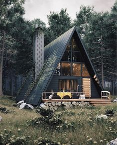 Architecture House Tiny Homes Modern Cabin with A-Frame in the Wood! Tiny House Cabin, Cabin Homes, Cabins In The Woods, House In The Woods, A Frame Cabin, A Frame House Plans, Forest House, Earthship, Cabins And Cottages
