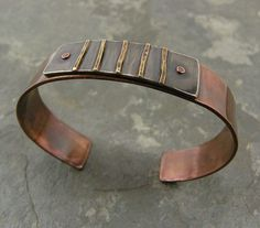 Cuff | Thomasin Durgin.  Copper, sterling silver and brass.