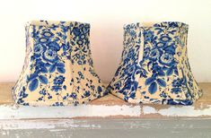 French Blue Lamp Shade Floral Lampshade Small hex clip