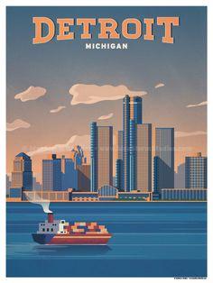 Image of Detroit Poster Party Vintage, Pub Vintage, Voyage Usa, Tourism Poster, Ville France, Travel Illustration, Illustration Animals, Travel Themes, Vintage Travel Posters
