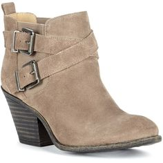 Sole Society Maris Stacked Heel Buckle Bootie ($100) ❤ liked on Polyvore featuring shoes, boots, ankle booties, taupe, buckle ankle boots, taupe boots, buckle booties, taupe booties and high heel leather boots
