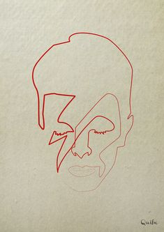 One Line David Bowie Art Print