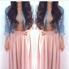 So perfect outfit long skirt denim jacket