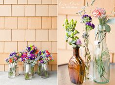 Flowers via ShopRite and unique vases from various garage sales! #Wedding - Photo credit: www.cassiclaire.com