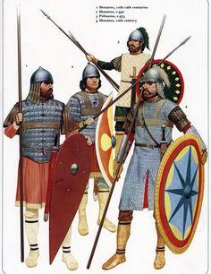 Skutatos, 11th-12th centuries; Skutatos, c.950; Peltastos, c.975; Skutatos, 10th century