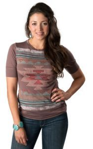 Wrangler® Women's Brown with Pink, Blue and Red Aztec Screen Print 3/4 Sleeve Tee | Cavender's