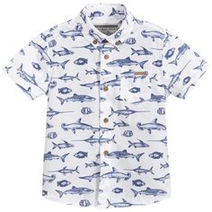 Mayoral - Boys Blue & White Fish print Layered Shirt | Childrensalon