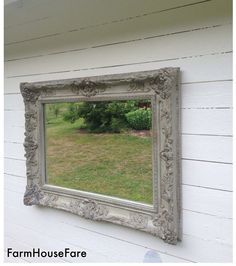 Shabby Chic Wall Mirror large ornate frame, vintage wood baroque wall hanging leaning