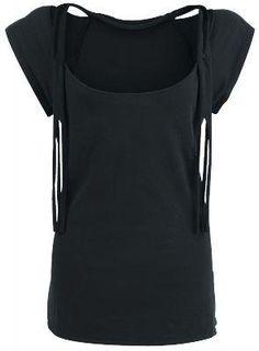 black t-shirt with fringe