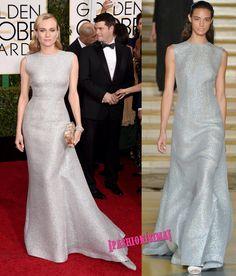 Diane Kruger es del team 50 sombras de Grey porque, como la protagonista de la película Dakota Johnson, ha escogido un look plateado para desfilar sobre la alf