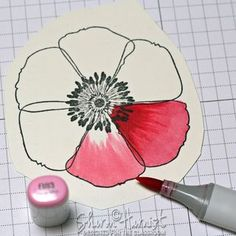 Copic Flick Feather Blended Poppy by Sharon Harnist - the CLASSroom Copic Pens, Copic Art, Copics, Copic Markers Tutorial, Spectrum Noir Markers, Coloring Tutorial, Alcohol Markers, Colouring Techniques, Card Making Techniques