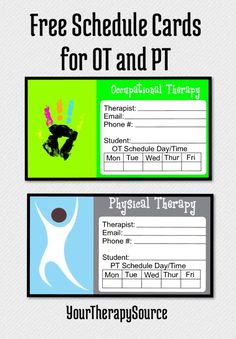 Free scheduling cards OT PT Speech from Your Therapy Source. You can even edit them. Print them out for appointment reminders.