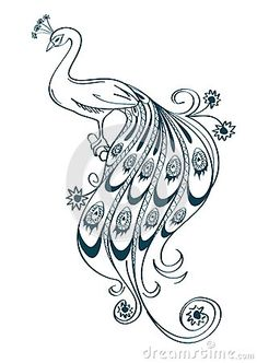 Illustration with stylized ornamental peacock by Annykos, via Dreamstime